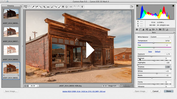High Dynamic Range Imaging within Adobe Camera Raw 9