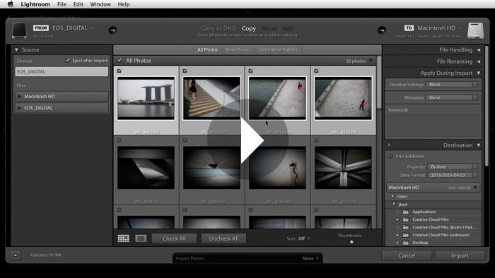 Getting Started in Lightroom CC: Importing Images From a Camera
