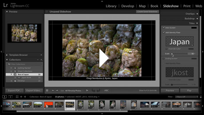 Getting Started in Lightroom CC: Publish a Slideshow
