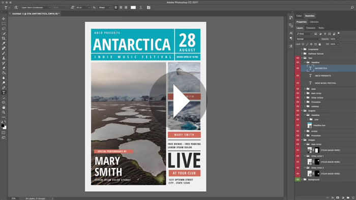 Working with Templates in Photoshop CC 2017